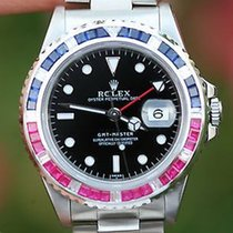 Rolex Watch Mens 40mm Stainless Steel Gmt Master Pepsi Diamond...