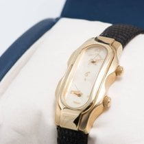 Philip Stein Teslat Small Dual Time Solid 18k Yellow Gold Watch