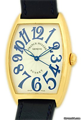 Franck Muller Gent&amp;#39;s Medium Size 18K Yellow Gold  Cintre Curvex Sunset Strapwatch