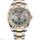 Rolex Oyster Perpetual Datejust Rolesor Grey Silver Romain 18k...
