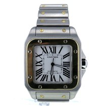Cartier Santos 100 Steel And Gold Automatic Silver Dial...