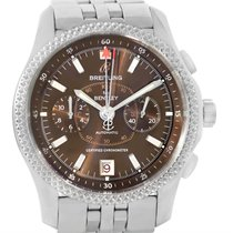 Breitling Bentley Mark Vi Brown Dial Mens Steel Platinum Watch...