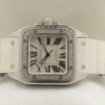 Cartier Santos 100 Midsize Steel Diamonds 45 x 35 mm (Full Set)