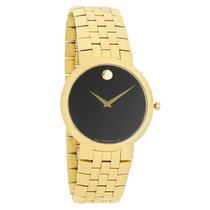 Movado Faceto Mens Black Dial Gold Tone Swiss Quartz Watch...