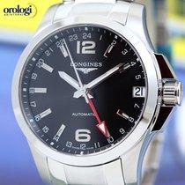 Longines Men's Conquest GMT 41mm Automatic Watch Black Face