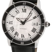 Cartier Ronde Croisiere Silver Dial Leather Black Automatic...