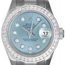 Rolex Ladies Platinum President Watch Custom Glacier Blue...