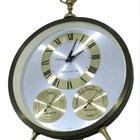 Bulova Vintage Mechanical Alarm Hygrometer Thermometer Desk Clock