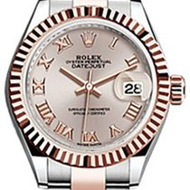Rolex Lady-Datejust 28 279171 Sundust Roman Fluted Rose Gold...