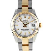 "Rolex 31MM ""New Style"" Midsize 18K/SS Datejust - White..."