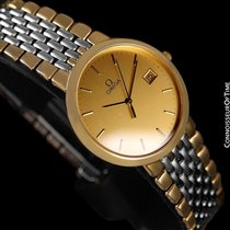 Omega DeVille Mens Midsize Dress Watch - 18K Gold Plated & SS