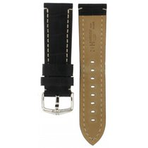 Hirsch Knight Black Crocodile Embossed Leather Strap 24mm