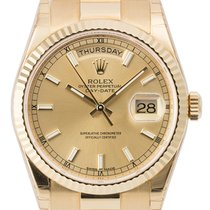 Rolex Day-Date 36mm Yellow Gold Champagne/Index President 118238