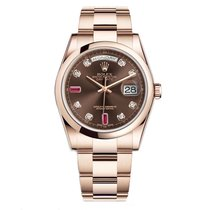 Rolex DAY-DATE 36mm Rose Gold Chocolate Ruby Diamond Dial 2016