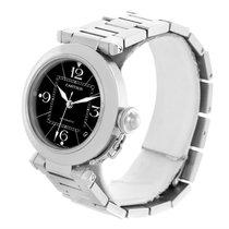 Cartier Pasha C Medium Black Dial Automatic Steel Watch W31076m7