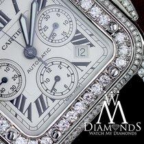 Cartier Diamond Cartier Santos 100 Xl Chronograph 17ct Natural...