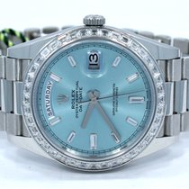 Rolex Platinum DAY-DATE 228396 40mm Factory Ice Blue Baguettes