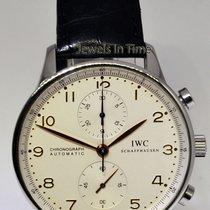 IWC 3714 Portuguese Chronograph Steel Watch Deployant Buckle...