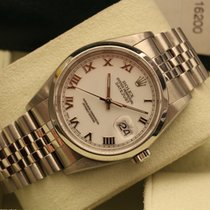 Rolex Datejust ref. 16200 white roman indexes box papers