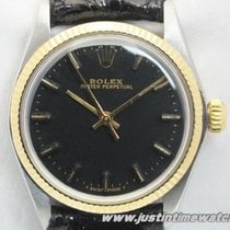 Rolex Vintage Perpetual 6551 quadrante nero Boy-Lady 31mm
