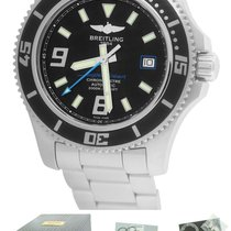 Breitling SuperOcean 44 A17391 Black Blue 44mm Stainless...