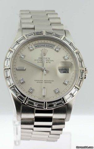 Rolex Platinum DayDate President with Factory Diamond Baguette Bez