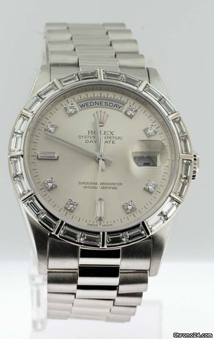 Rolex Platinum DayDate President with Factory Diamond Baguette Bez
