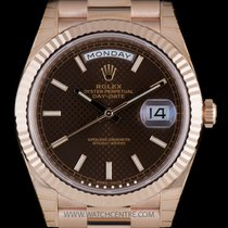 Rolex 18k R/G Unworn O/P Chocolate Dial Day-Date 40mm B&P...