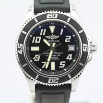 Breitling Superocean 42 Black A17364 On Rubber Strap With Push...