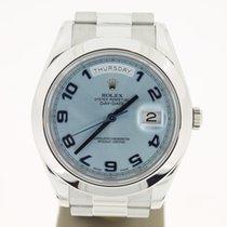 Rolex Day&Date II PLATINUM (B&P2015) 41mm ICEBLUE Dial...