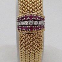 Movado Ladies 14k Yellow Gold Diamond Ruby Woven Mesh Movado...