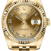 Rolex Datejust 36mm Yellow Gold 116238 Champagne Roman Jubilee