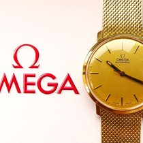 Omega GELBGOLD 14K 585 GOLDBAND VINTAGE AUTOMATIK ARMBANDUHR 1975
