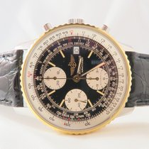 Breitling Old Navitimer Steel Gold Black Dial Chronograph