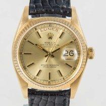Rolex Day-Date President 18K Yellow Gold & Black Strap...