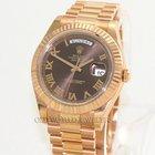 Rolex 18K Rose Gold Pres Day Date II 218235 Chocolate