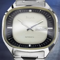 Bulova Jumbo Silver Black Ss Double Day/date Automatic Mens...