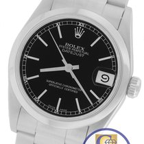 Rolex DateJust Mid-Size 31mm Black 68240 Stainless Oyster Watch