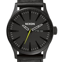 Nixon A105-1941 Sentry Leather Black Reflective Woven 42mm 10ATM
