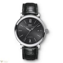 IWC Portofino Automatic Black Dial Crocodile Strap Men`s Watch