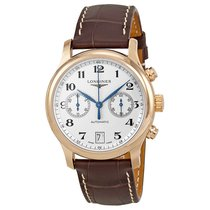 Longines Master Collection 18kt Rose Gold Brown Leather Mens...