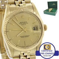 Rolex Date 15037 34mm Solid 14K Gold Champagne Watch DateJust