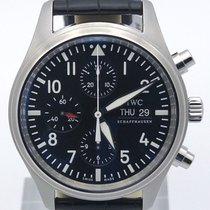IWC Pilots Chronograph Black Dial On Alligator With Tang...