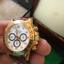 Rolex 16518 Cosmograph 18k Yellow Gold Daytona White Diamond Dial