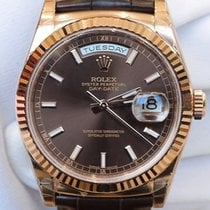 Rolex Day-Date 36mm Watch 18 ct Everose gold Leather Strap 118135