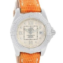 Breitling Windrider Cockpit Diamond Dial Brown Strap Ladies...