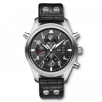 IWC Pilots Watch Double Chronograph  Black Dial Automatic...