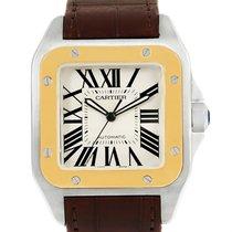 Cartier Santos 100 Steel Yellow Gold Mens Watch W20072x7 Box...