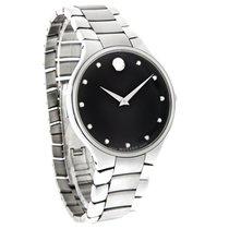 Movado Serio Series Mens Diamond Black Dial Swiss Quartz Watch...