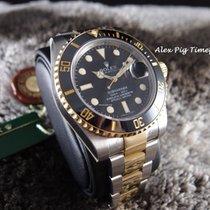 Rolex 18K Gold & SS 116613LN Submariner CERAMIC Black Dial...